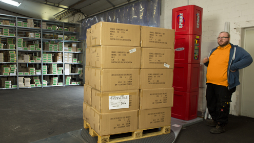 Verpackungsmaschine in Arbeit
